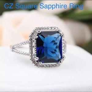 Sapphire CZ blue ring 7